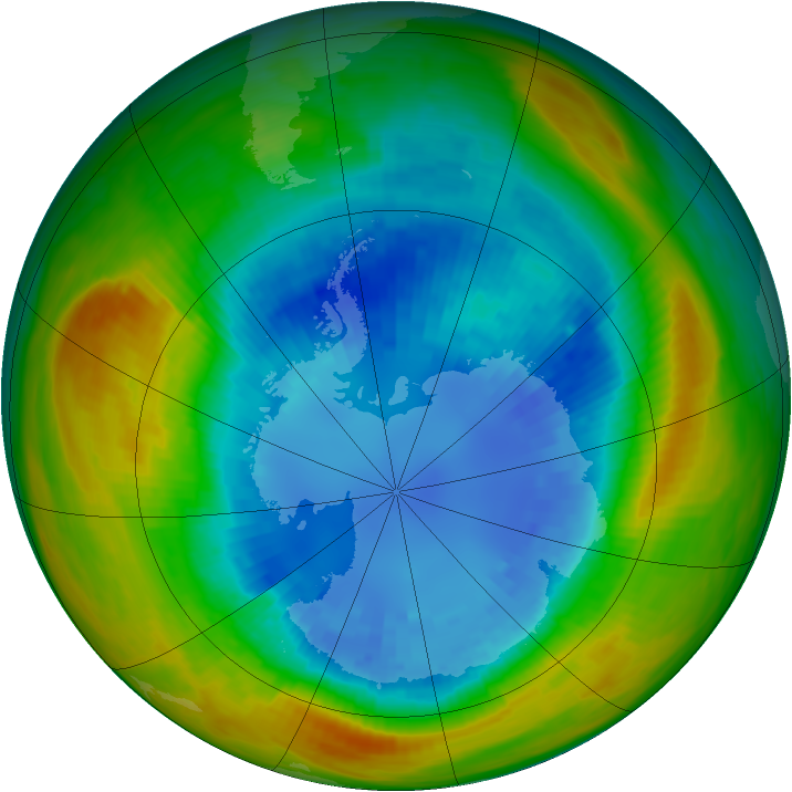 Antarctic ozone map for 01 September 1986