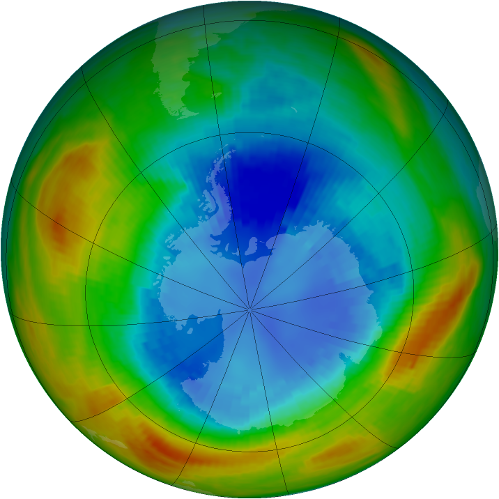 Antarctic ozone map for 02 September 1986