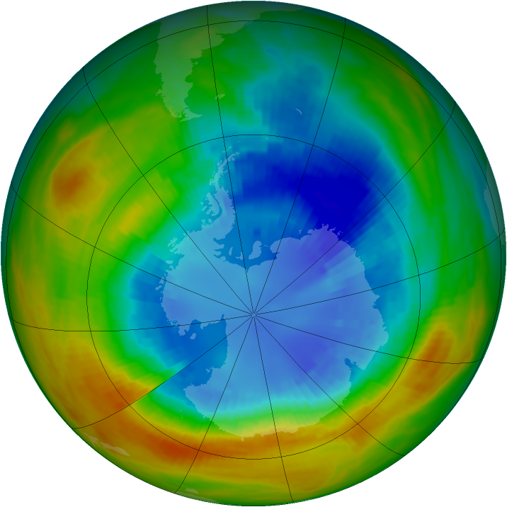Antarctic ozone map for 03 September 1986
