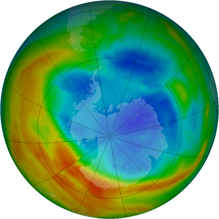 Antarctic ozone map for 06 September 1986