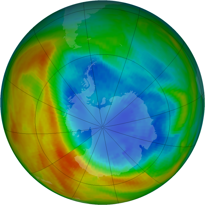 Antarctic ozone map for 07 September 1986