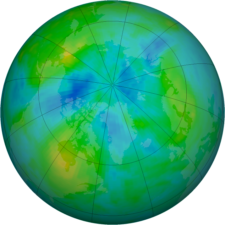 Arctic ozone map for 08 September 1986