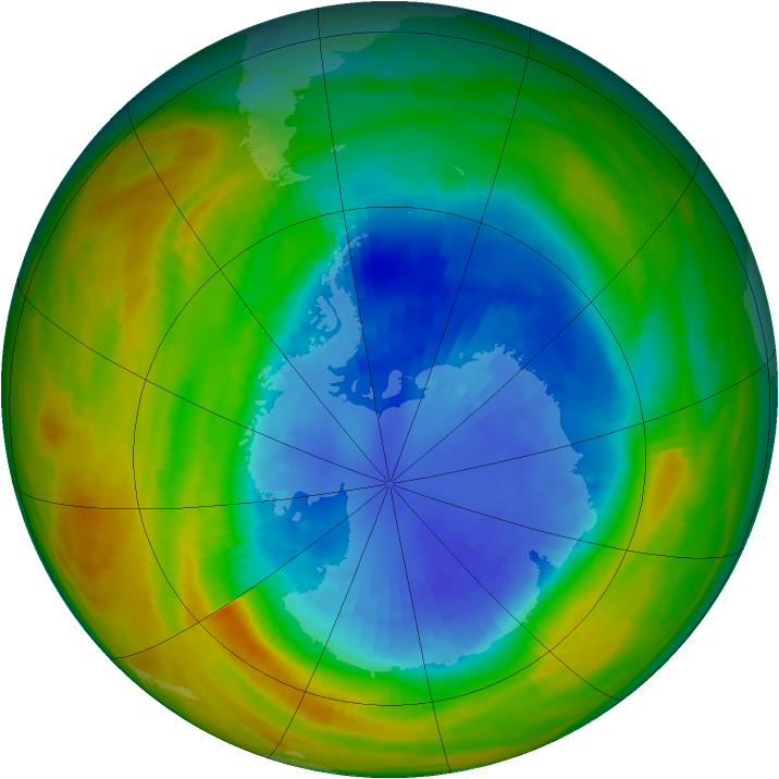 Antarctic ozone map for 10 September 1986