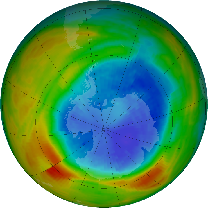 Antarctic ozone map for 12 September 1986