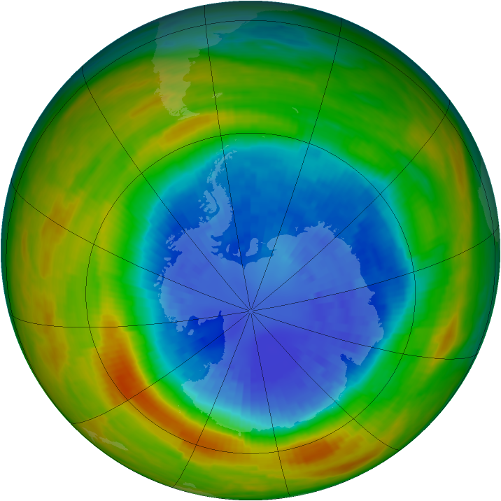 Antarctic ozone map for 13 September 1986