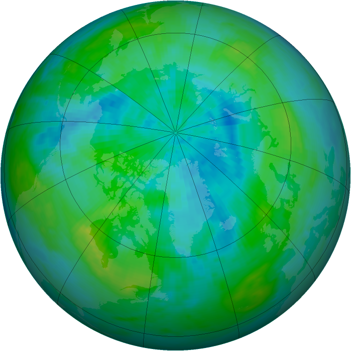 Arctic ozone map for 14 September 1986
