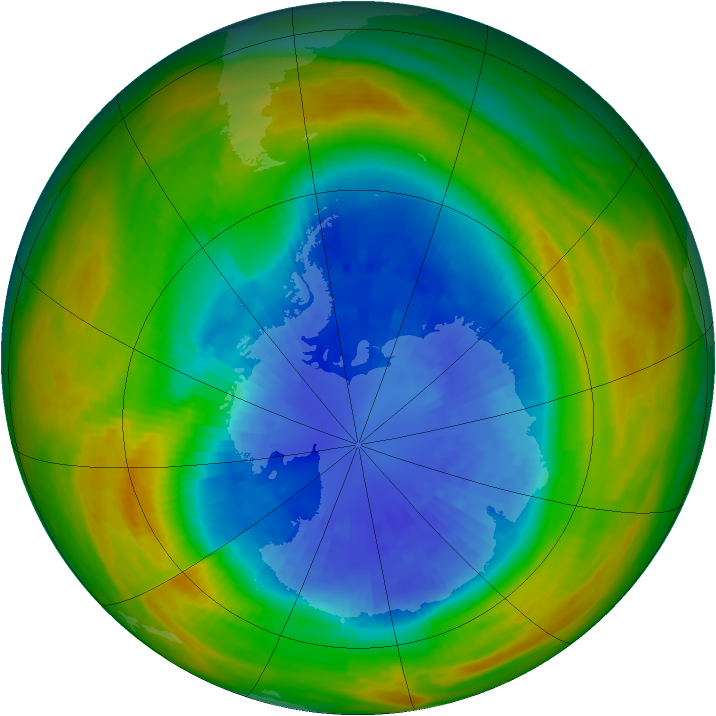 Antarctic ozone map for 15 September 1986