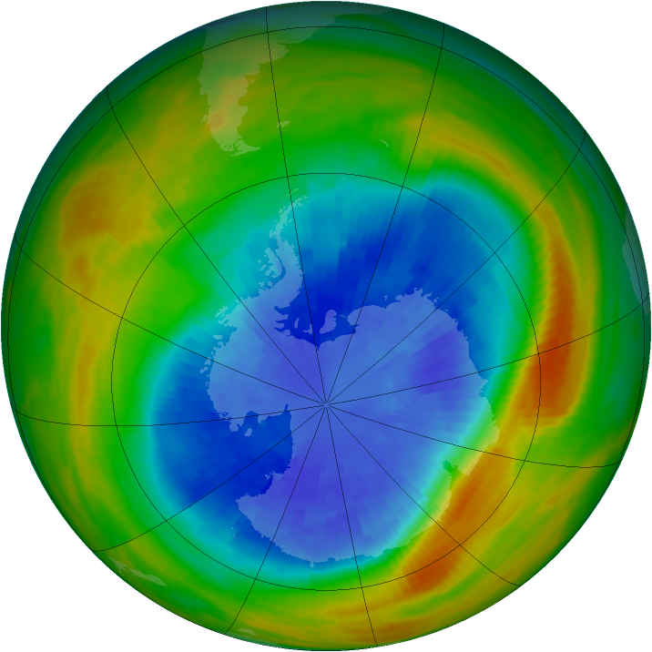 Antarctic ozone map for 18 September 1986