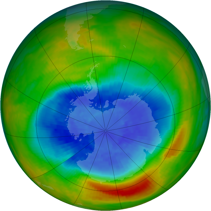 Antarctic ozone map for 21 September 1986