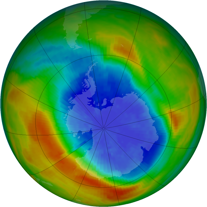 Antarctic ozone map for 24 September 1986
