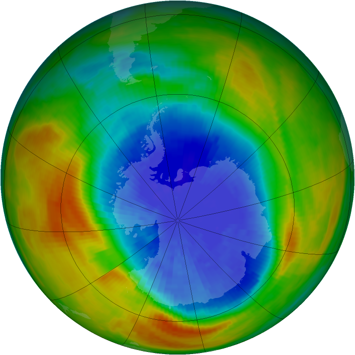 Antarctic ozone map for 25 September 1986