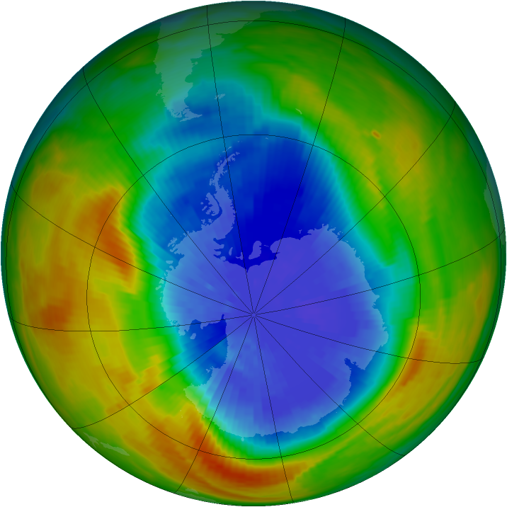 Antarctic ozone map for 26 September 1986