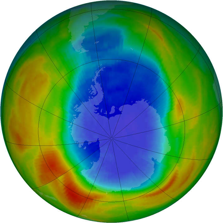 Antarctic ozone map for 27 September 1986