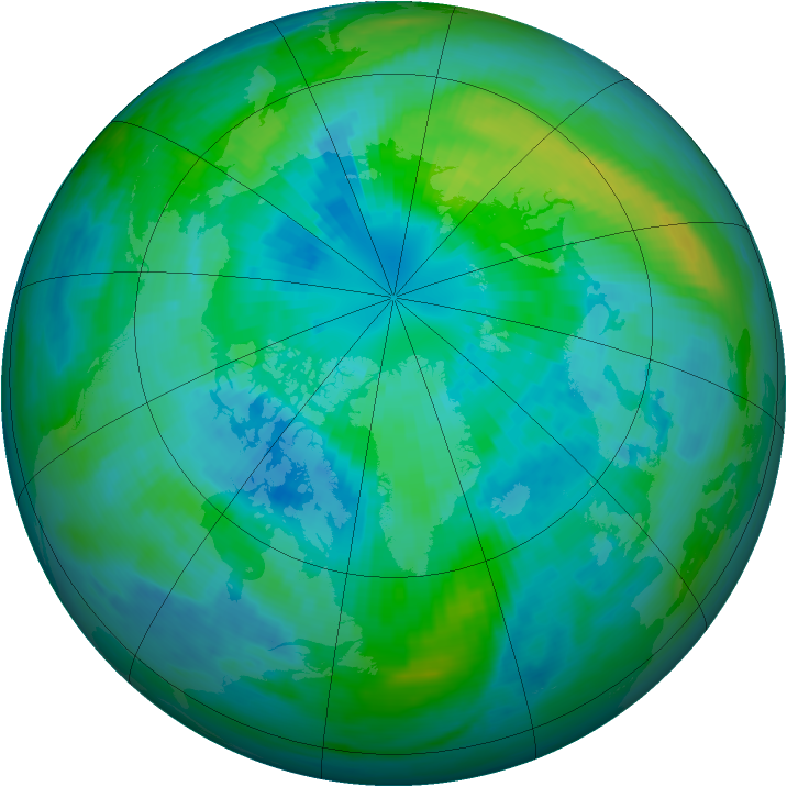 Arctic ozone map for 29 September 1986