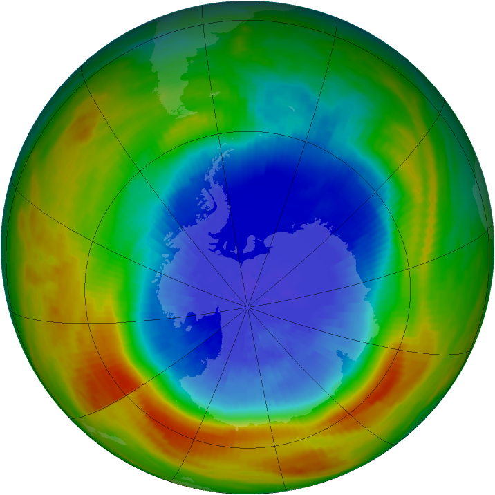 Antarctic ozone map for 29 September 1986