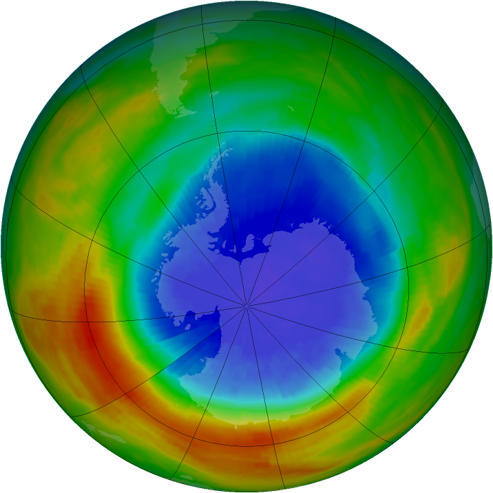 Antarctic ozone map for 01 October 1986