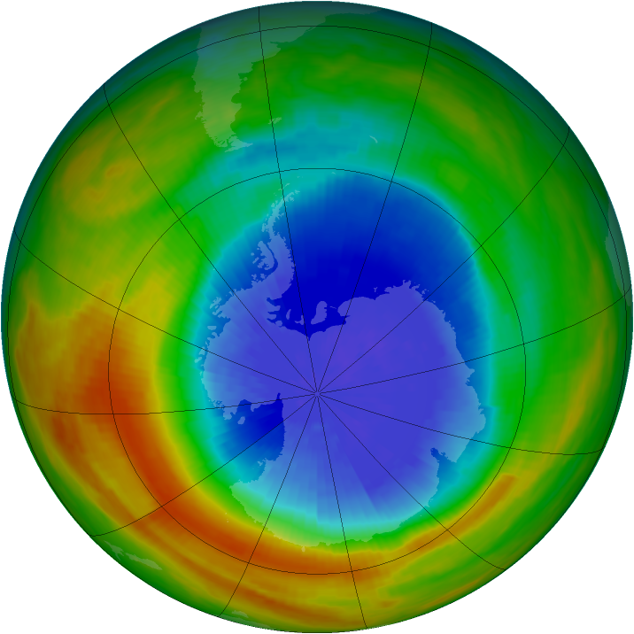 Antarctic ozone map for 02 October 1986