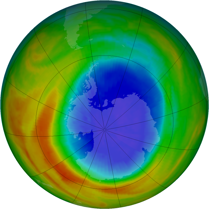 Antarctic ozone map for 03 October 1986