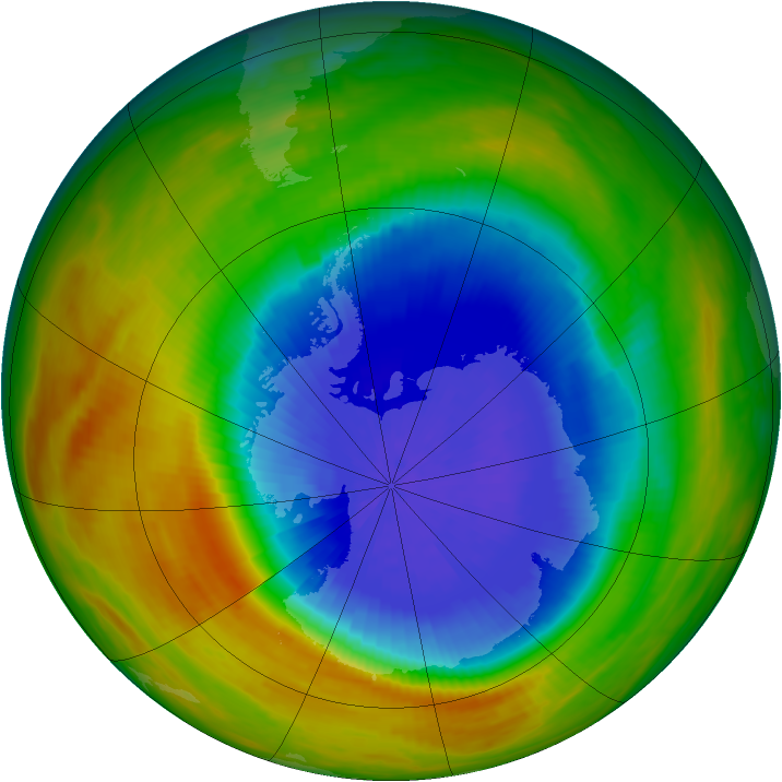Antarctic ozone map for 05 October 1986