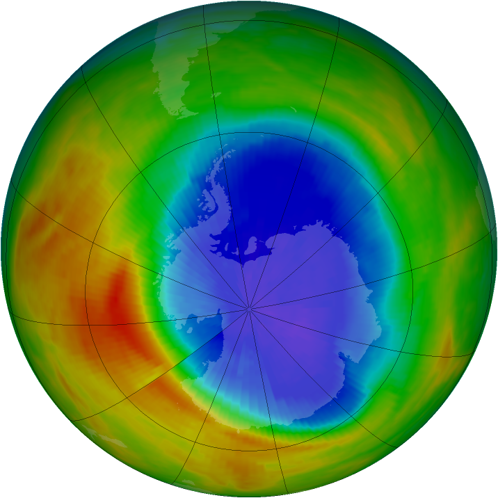 Antarctic ozone map for 06 October 1986