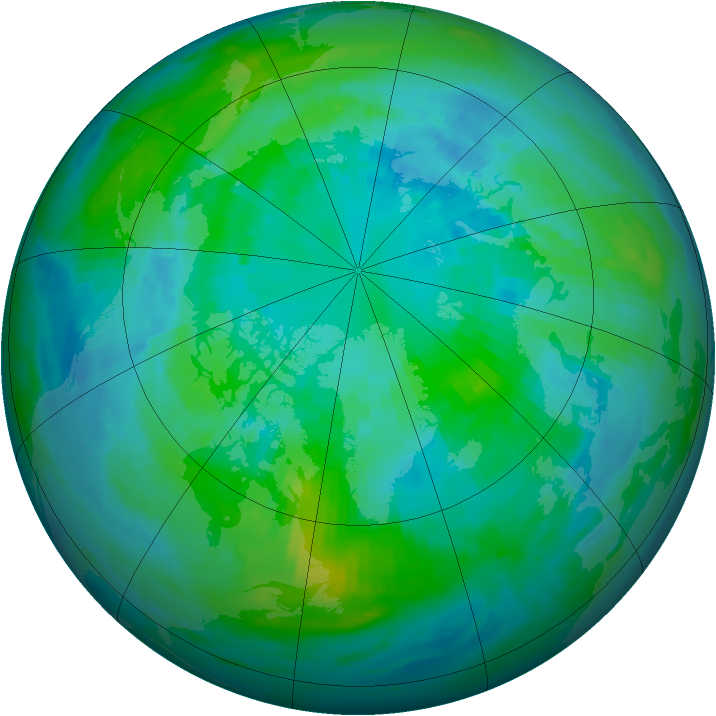Arctic ozone map for 07 October 1986