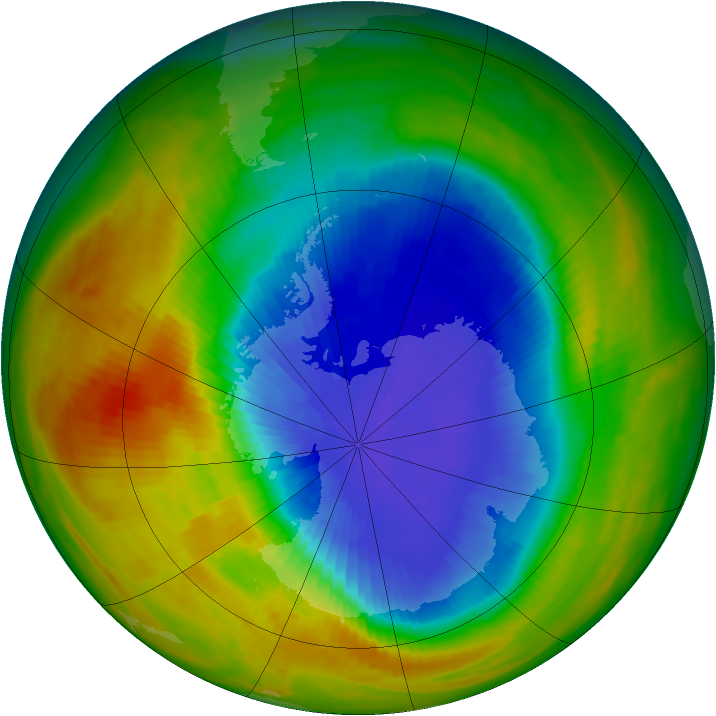 Antarctic ozone map for 07 October 1986
