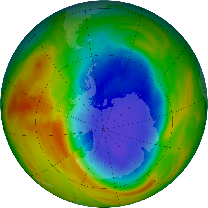 Antarctic ozone map for 08 October 1986