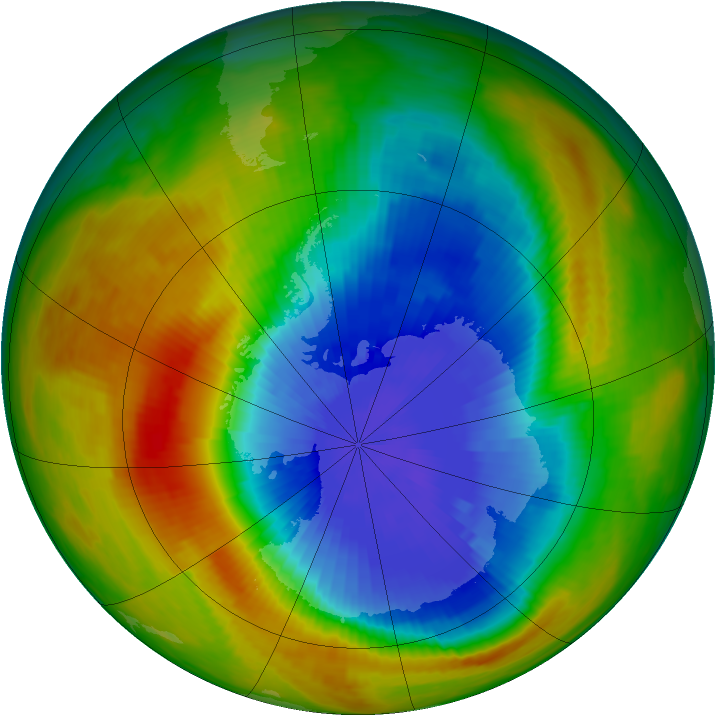 Antarctic ozone map for 10 October 1986
