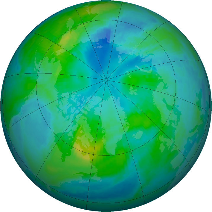 Arctic ozone map for 16 October 1986