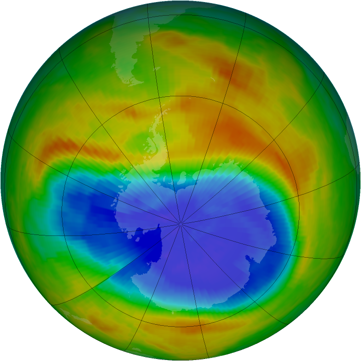 Antarctic ozone map for 17 October 1986