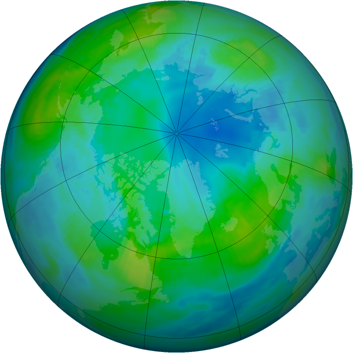 Arctic ozone map for 22 October 1986