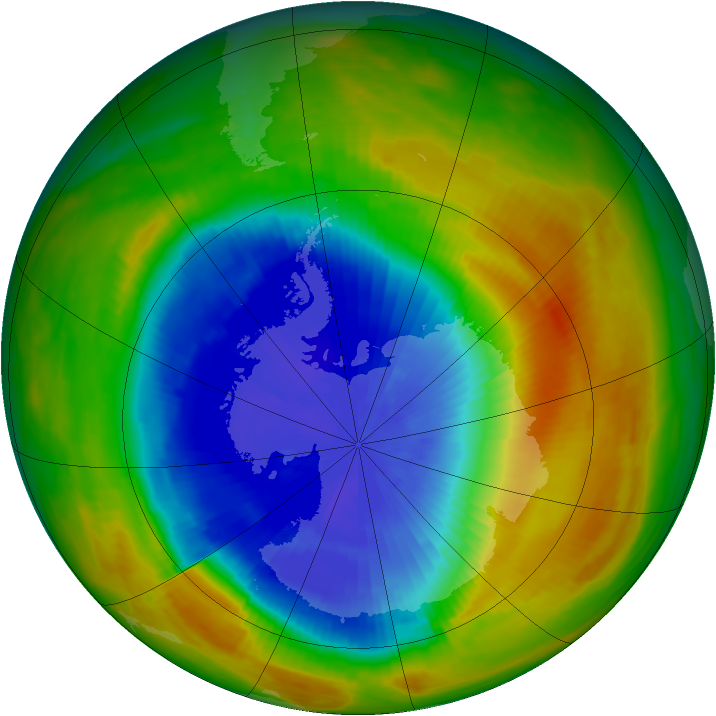 Antarctic ozone map for 22 October 1986