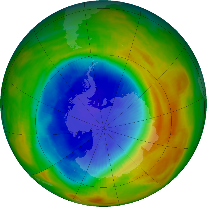Antarctic ozone map for 23 October 1986