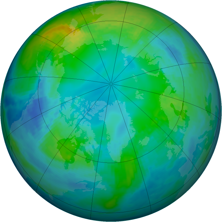 Arctic ozone map for 01 November 1986