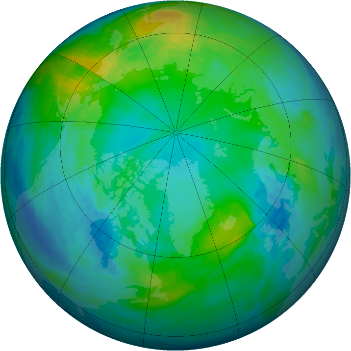 Arctic ozone map for 05 November 1986