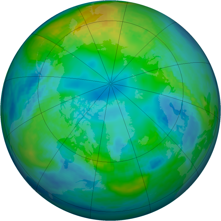 Arctic ozone map for 08 November 1986