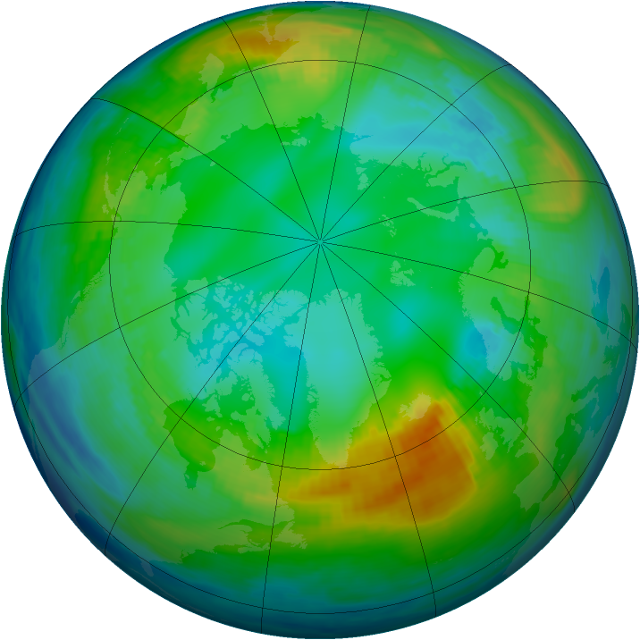 Arctic ozone map for 16 November 1986