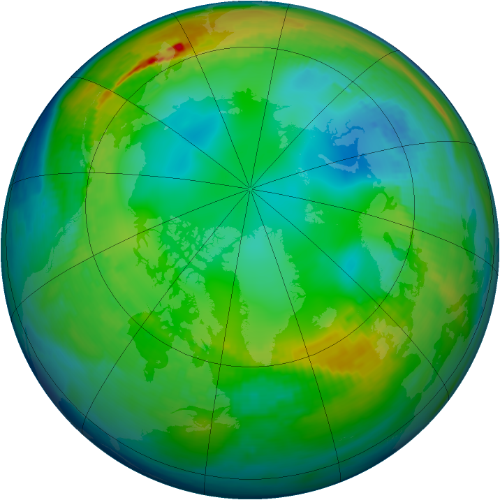 Arctic ozone map for 22 November 1986