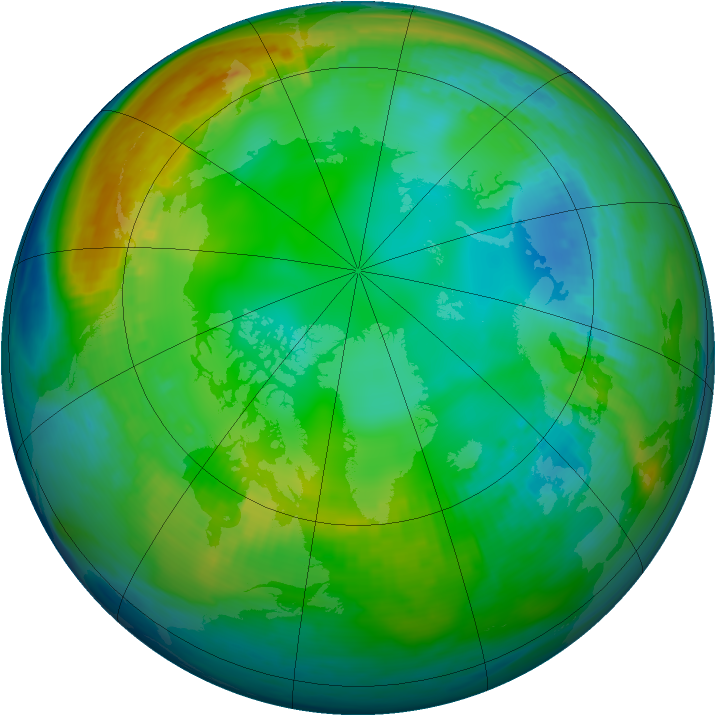 Arctic ozone map for 24 November 1986