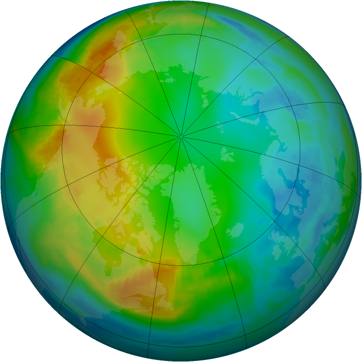 Arctic ozone map for 30 November 1986