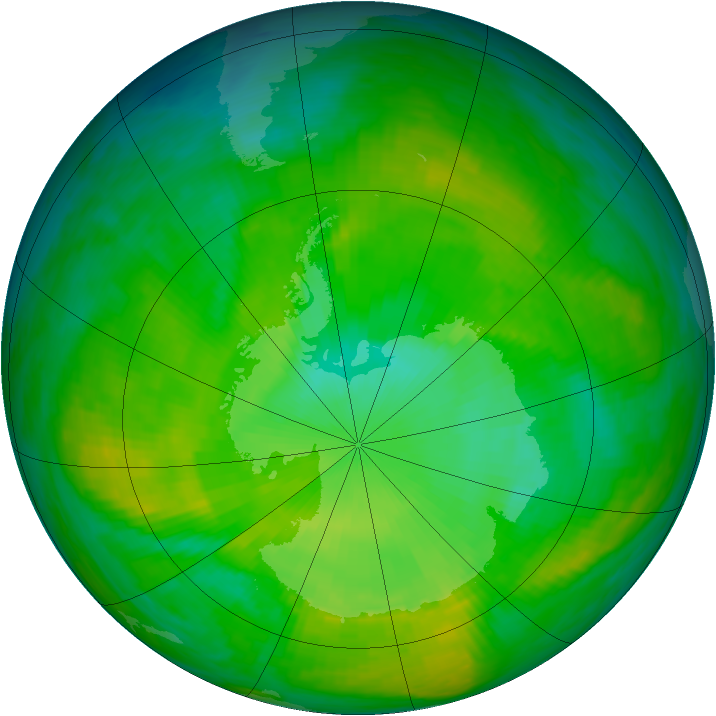 Antarctic ozone map for 08 December 1986