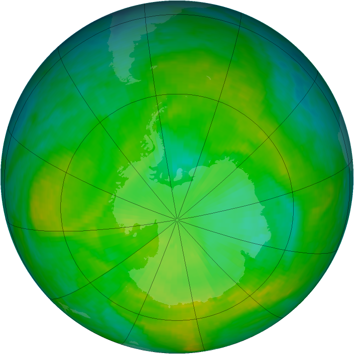 Antarctic ozone map for 09 December 1986