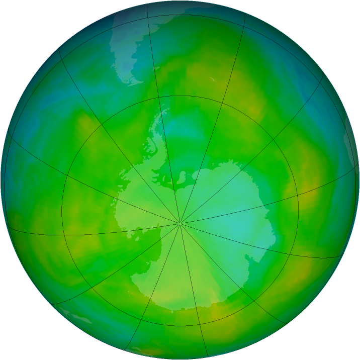 Antarctic ozone map for 11 December 1986