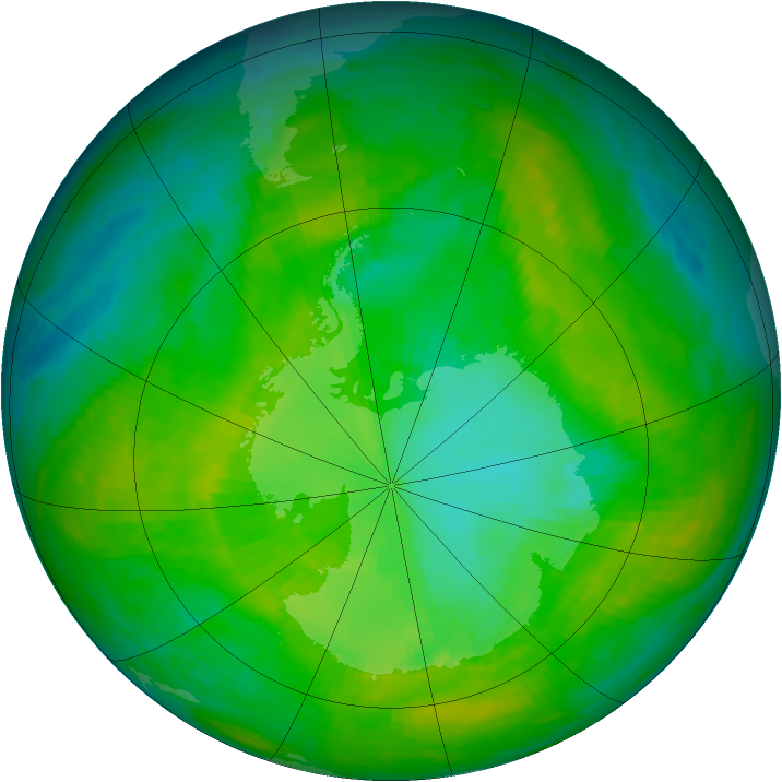 Antarctic ozone map for 13 December 1986