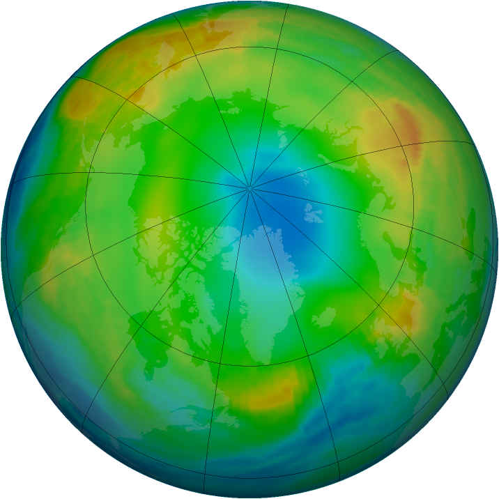 Arctic ozone map for 14 December 1986