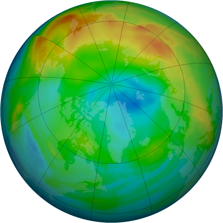 Arctic ozone map for 18 December 1986