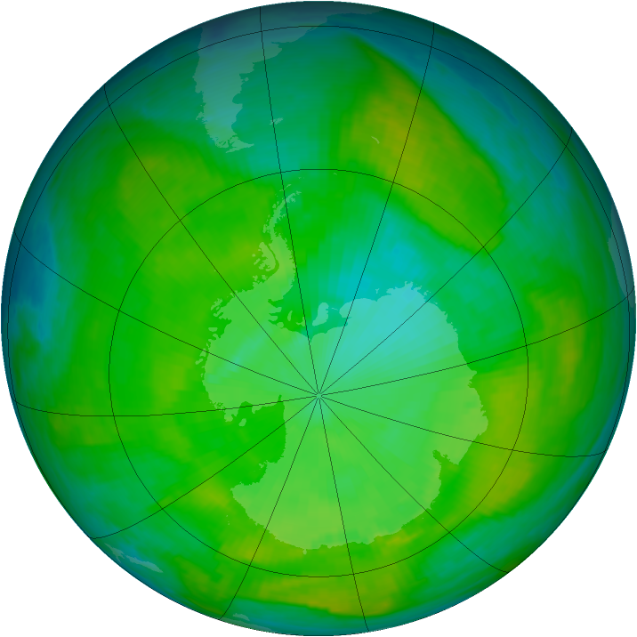 Antarctic ozone map for 18 December 1986