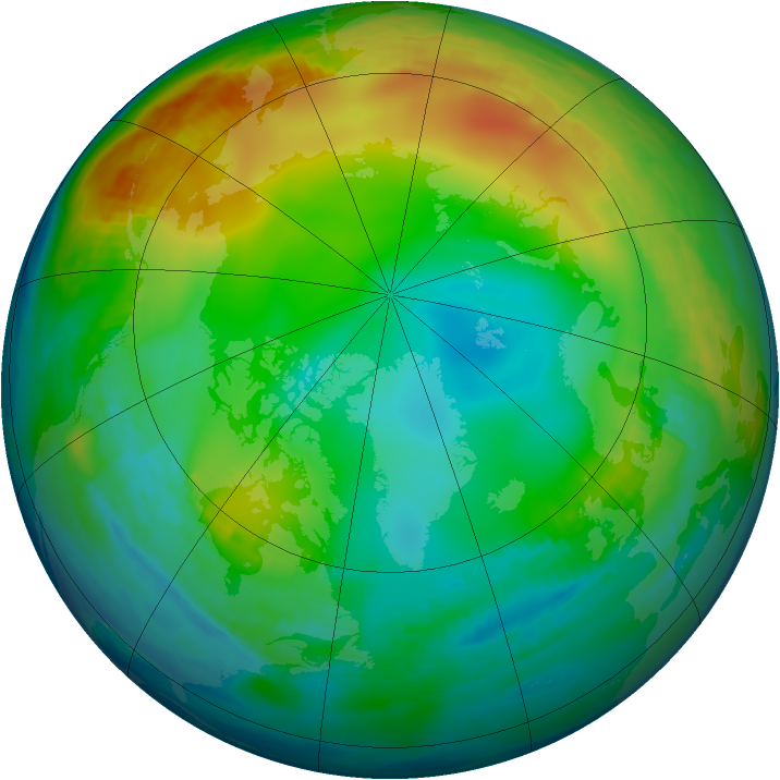 Arctic ozone map for 19 December 1986