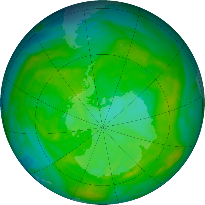 Antarctic ozone map for 21 December 1986