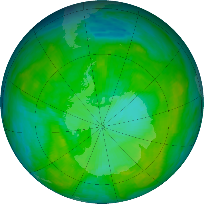 Antarctic ozone map for 24 December 1986